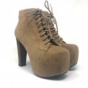 Jeffrey Campbell Lita Beige Suede Wood Boots